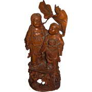 Vintage Chinese Carved Wood Figure of Budai & Child