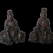 Pair Chinese Carved Wood Buddhist Deities