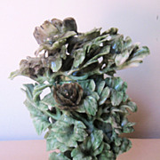 Chinese Carved Green Jade Floral Covered Vase
