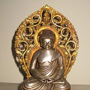 Exquisite Nepalese Seated Silver Amida Buddha