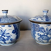 Pair of Chinese 18th Century Blue and White Porcelain Covered Jars