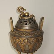 Japanese Gilt Bronze Censor with a Kneeling Oni
