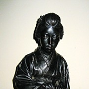 Late Meji Japanese Bronze Seated Geisha