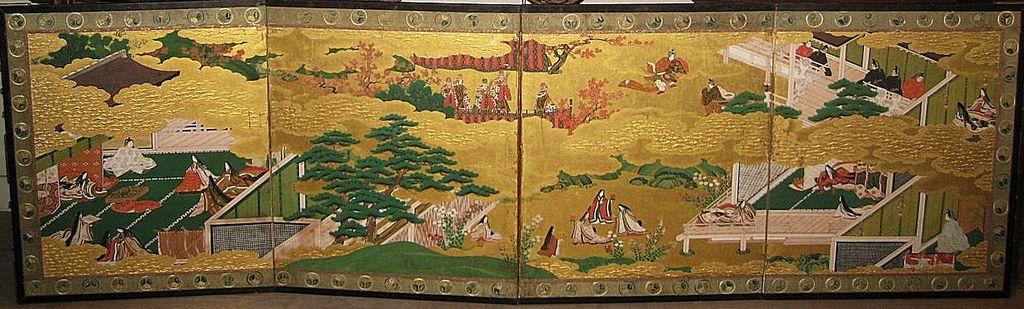 "Pair of Japanese Four-Panel Genroku Screens ""Tales of Genji"""