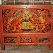 Antique Chinese Painted Red Small Cabinet