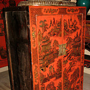 Chinese Small Red Lacquer Chest