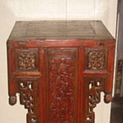 Pair 19th C. Chinese Carved Wood Orchid Pedestals