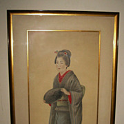 Japanese Early 20th Century Painting on Silk