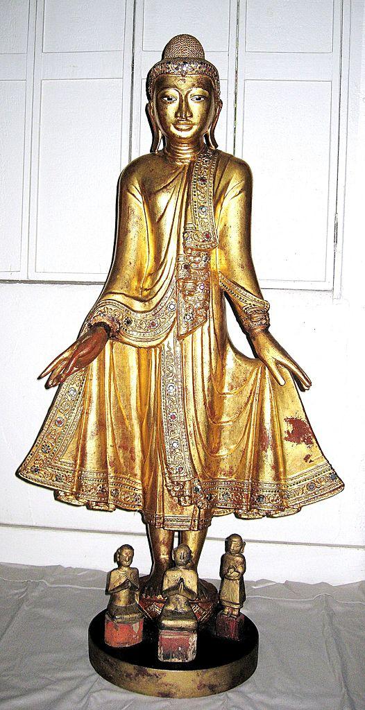 Exquisite 19th Century Thai Gilt Wood Standing Buddha