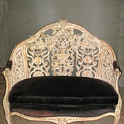 Exquisite French Settee with a Black Velvet Cushion