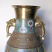 Massive Old Japanese Champlevé Enamel Bronze Urn
