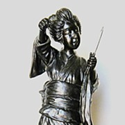 19th Century Japanese Bronze Standing Geisha
