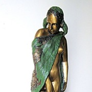 Tall Bronze Female Nude Statue Draped with a Leaf Shawl