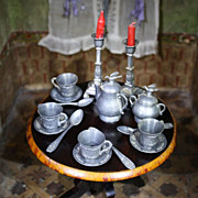 Antique Pewter Tea Service with flying Birds - For Jumeau, Bru or Fashion Dolls !