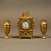 Antique Dollhouse Gilt Painted Mantel Clock with its two Matching Vases