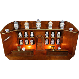 Miniature Wooden Apothecary Shop with Original Faience Jars for your Dolls