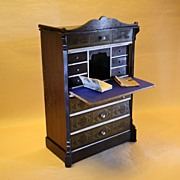 German Wooden Boulle Style Desk for Fashion Dolls