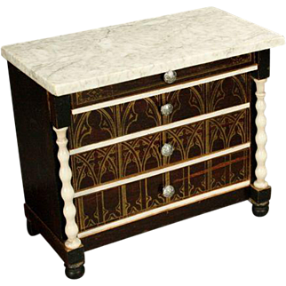 German Wooden Marble-Top Chest - by Wagner & Sohne