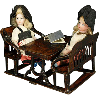 Very Rare German Painted-Tin Double School Desk and Benches by Roch & Graner with two French All-Bisque Dolls