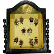 Antique Display with Five Pairs of All-Bisque Tiny Dolls