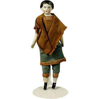 Antique German Porcelain Miniature Dollhouse Man or Early Theater Doll