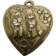 Vintage Sterling Silver Pair of Terrier Dogs Puffy Heart Charm