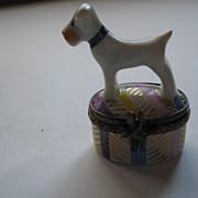 White Terrier Signed Limoges Box