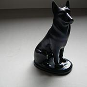 Vintage Zsolnay Purple Iridescent German Shepherd Dog --Marked ORYF