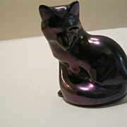 Vintage Zsolnay Purple Iridescent FOX Figure