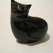Baccarat  Crystal Black Sitting Cat Signed