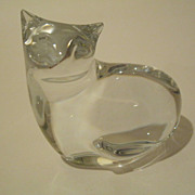 Baccarat Clear Crystal  Sitting Cat Signed
