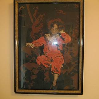 """Large Vintage Framed Needlepoint Of Young Boy 30"""" X 21.5"""""""