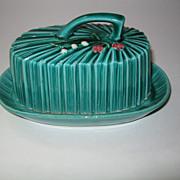 Vintage Majolica Green Butter Dish