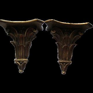 Antique Large Italian Florentia Gold Leaf Wood Wall Shelves