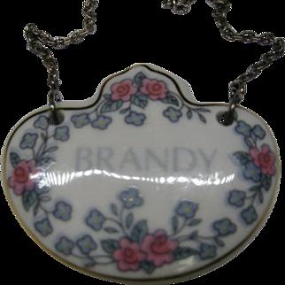 Vintage Brandy Enamel Liquor Decanter Label Bottle Tag