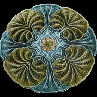 """Rare Antique Majolica Lily Sunflower 10"""" Plate"""