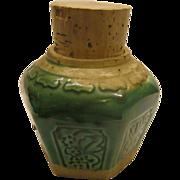 Vintage Green Majolica Ginger Jar