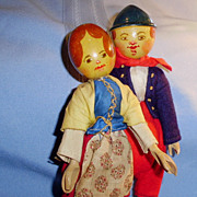 Pair of Wood Jointed German Dolls in Original Clothing