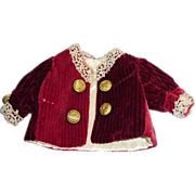 Old Cranberry and White Silk Doll jacket