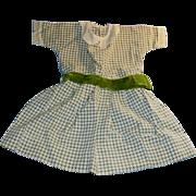 1910 Gingham Doll Dress with Velvet Sash