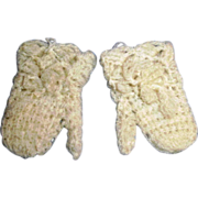 "2.5"" Old Wool Knit Doll Mittens"