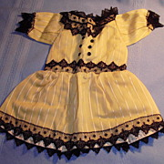 Pretty Antique Yellow Stripe Lace Bebe Doll Dress