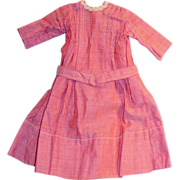 1910 Brick Red Color Cotton Doll Dress with Bodice Tuck Detail