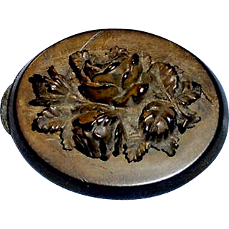 Antique Carved Floral Oval Mourning Brooch