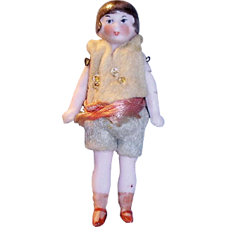 Antique 3 Inch German Molded Hair All Bisque Doll