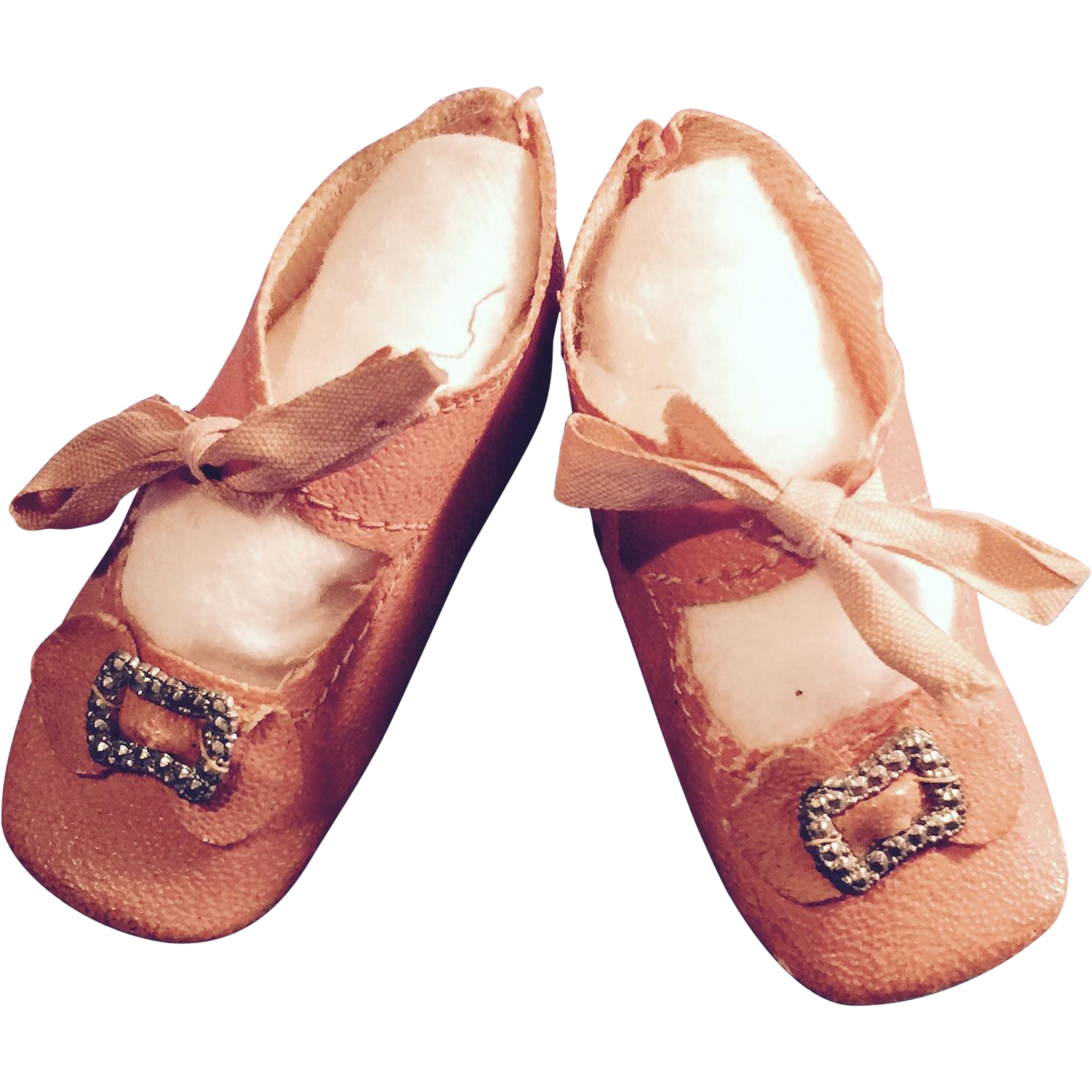 antique german pink oilcloth doll shoes from