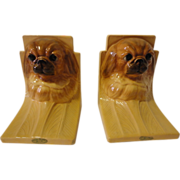 Vintage Mortens Studios Pekingese Dog Bookends