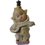 German Crown Top Perfume Bottle Girl Clown Playing Mandolin