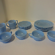 14 Piece Set of Vintage Blue Glass Cherry Blossom Child's Toy Dishes