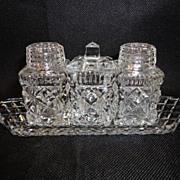 Czechoslovakia 3 Piece Glass  Condiment Set on Tray